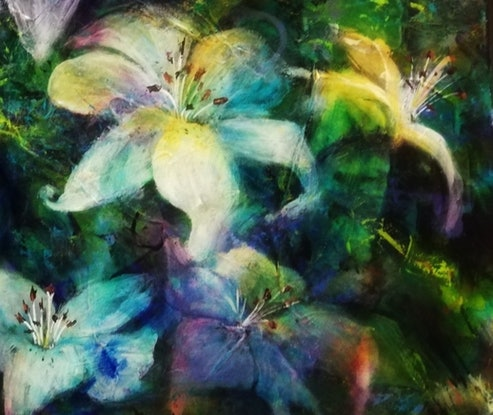 (CreativeWork) Lily Love by Cathy Gilday. Acrylic Paint. Shop online at Bluethumb.