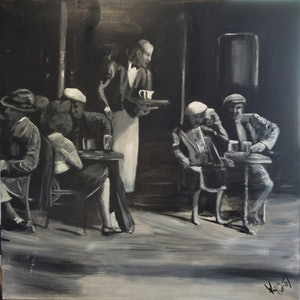 (CreativeWork) Cafe scene  by Kylie van Tol. arcylic-painting. Shop online at Bluethumb.