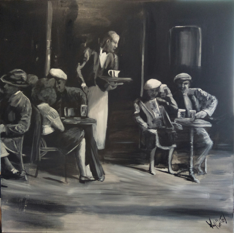 (CreativeWork) Cafe scene  by Kylie van Tol. Acrylic Paint. Shop online at Bluethumb.