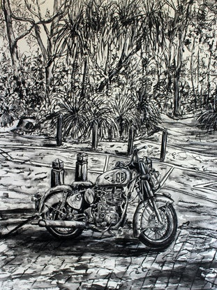 (CreativeWork) Royal Enfield by jane parker. Drawings. Shop online at Bluethumb.