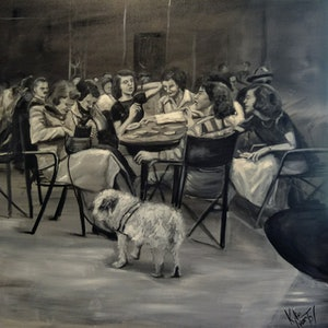 (CreativeWork) Cafe catch up  by Kylie van Tol. arcylic-painting. Shop online at Bluethumb.