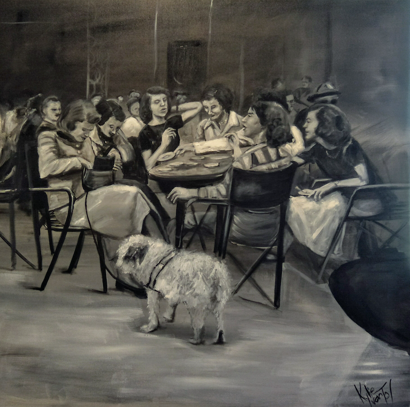 (CreativeWork) Cafe catch up  by Kylie van Tol. Acrylic Paint. Shop online at Bluethumb.