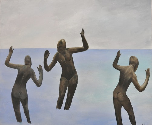 (CreativeWork) Bathers in Sync by Tammy McGarry. Acrylic Paint. Shop online at Bluethumb.