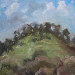 (CreativeWork) Cloud Hill by Jodi Stewart. Oil Paint. Shop online at Bluethumb.