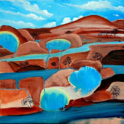 (CreativeWork) Three Rivers by Doodie Herman. Acrylic Paint. Shop online at Bluethumb.