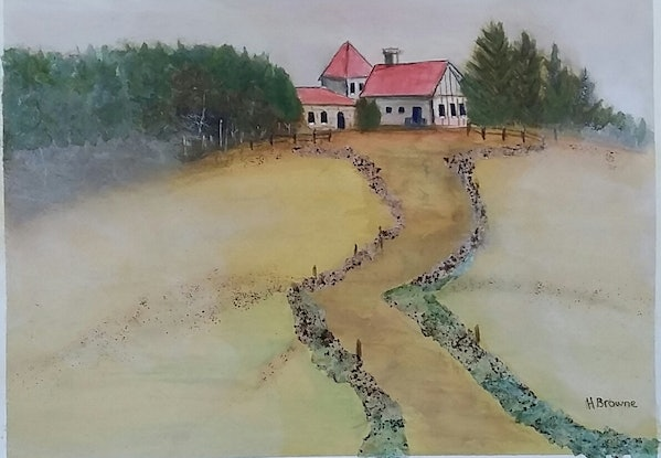 (CreativeWork) French Farmhouse by Heather Browne. Mixed Media. Shop online at Bluethumb.