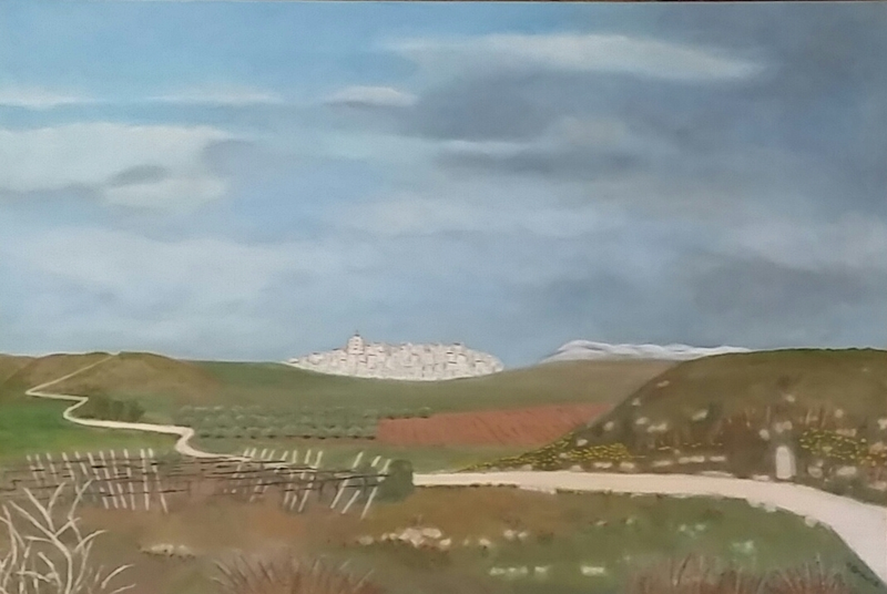 (CreativeWork) Approaching Cirauqui on the Camino by Heather Browne. Oil Paint. Shop online at Bluethumb.