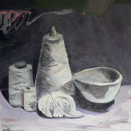 (CreativeWork) Make Something by Kathleen Agius. Oil. Shop online at Bluethumb.