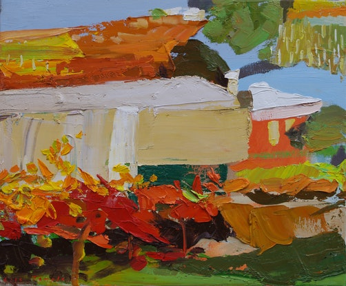 (CreativeWork) Shed and Vines by Lise Temple. Oil Paint. Shop online at Bluethumb.