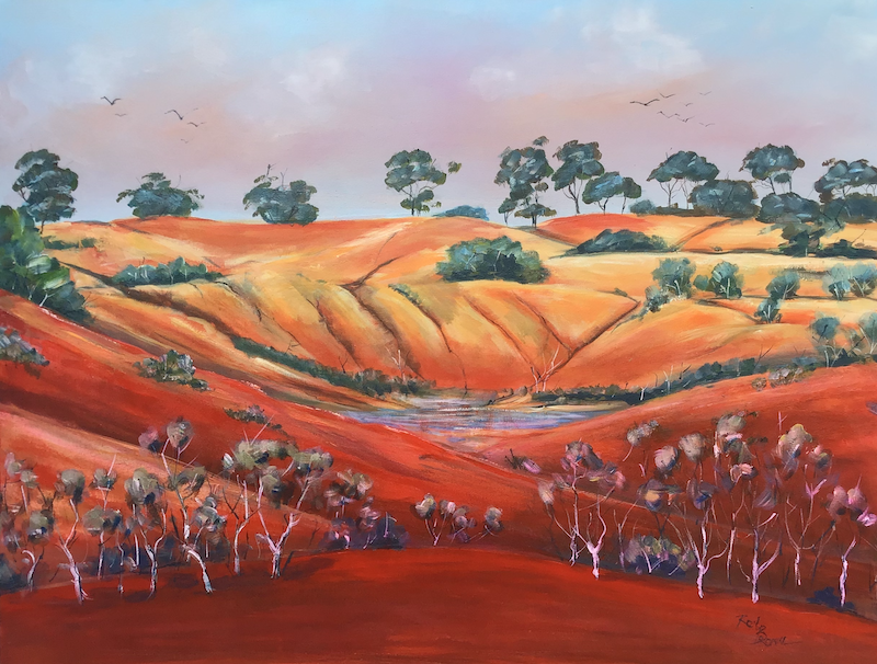 (CreativeWork) Kimberley waterhole by Ron Brown. Acrylic Paint. Shop online at Bluethumb.