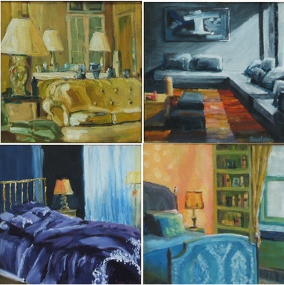 (CreativeWork) Interior Design by Rob Sinclair. Oil Paint. Shop online at Bluethumb.