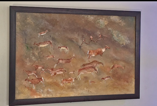 (CreativeWork) Cave Art - Drakensberg - South Africa by Barry Angus. Oil Paint. Shop online at Bluethumb.