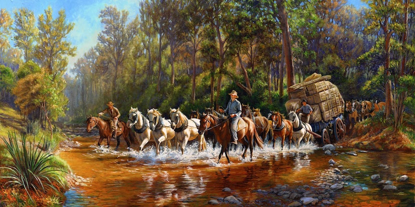 (CreativeWork) Move the Pub - CROSSING BROKEN RIVER (Size A) Ed. 3 of 150 by Ron and Jennifer Marshall. Print. Shop online at Bluethumb.