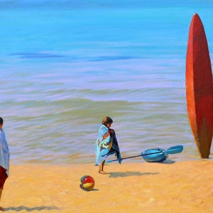(CreativeWork) The Red Kayak by Grace Huang. oil-painting. Shop online at Bluethumb.