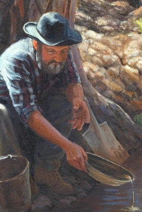 (CreativeWork) GOLD PANNING IN OAKEY CREEK 1881 (Size C) Ed. 2 of 150 by Jennifer Marshall. Print. Shop online at Bluethumb.