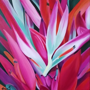 (CreativeWork) Exotic Hues II by Louise Taylor. arcylic-painting. Shop online at Bluethumb.