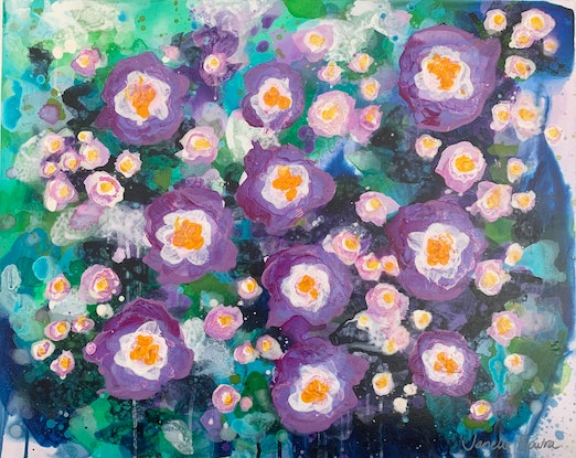 (CreativeWork) Purple flowers by Janelle Bowra. Acrylic Paint. Shop online at Bluethumb.