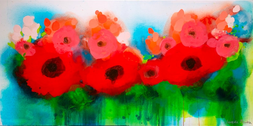 (CreativeWork) Poppies by Janelle Bowra. Acrylic Paint. Shop online at Bluethumb.