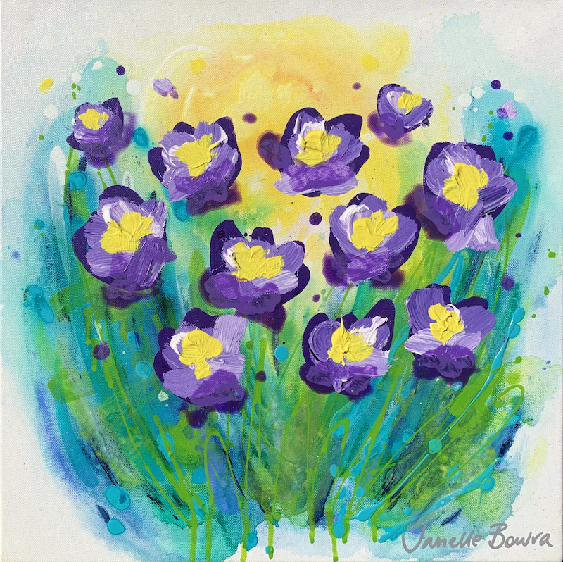 (CreativeWork) Bellflowers  by Janelle Bowra. Acrylic Paint. Shop online at Bluethumb.