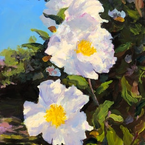 (CreativeWork) White camellia  by Shelly Du. arcylic-painting. Shop online at Bluethumb.