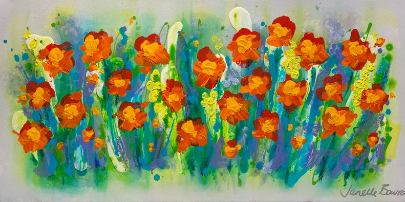 (CreativeWork) Smell the flowers by Janelle Bowra. Acrylic Paint. Shop online at Bluethumb.