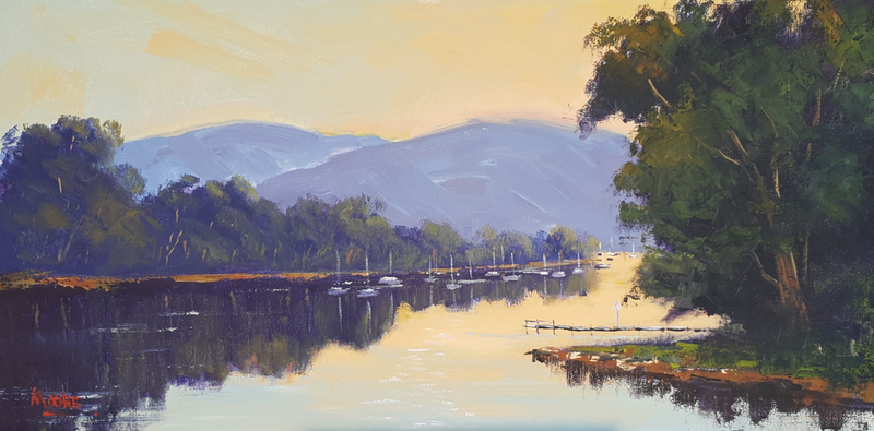 (CreativeWork) Noosa River First Light by Rod Moore. Acrylic Paint. Shop online at Bluethumb.
