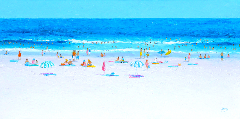 (CreativeWork) HELLO SUMMER - BEACH PAINTING by Jan Matson. Oil Paint. Shop online at Bluethumb.