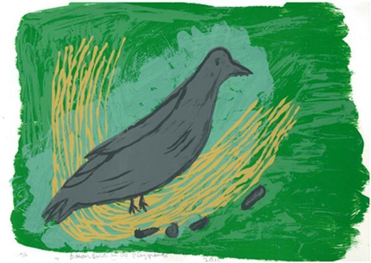 (CreativeWork) Bowerbird in it's Playground 2/15 (Limited Edition Screen Print) by Sally Murray. other-media. Shop online at Bluethumb.