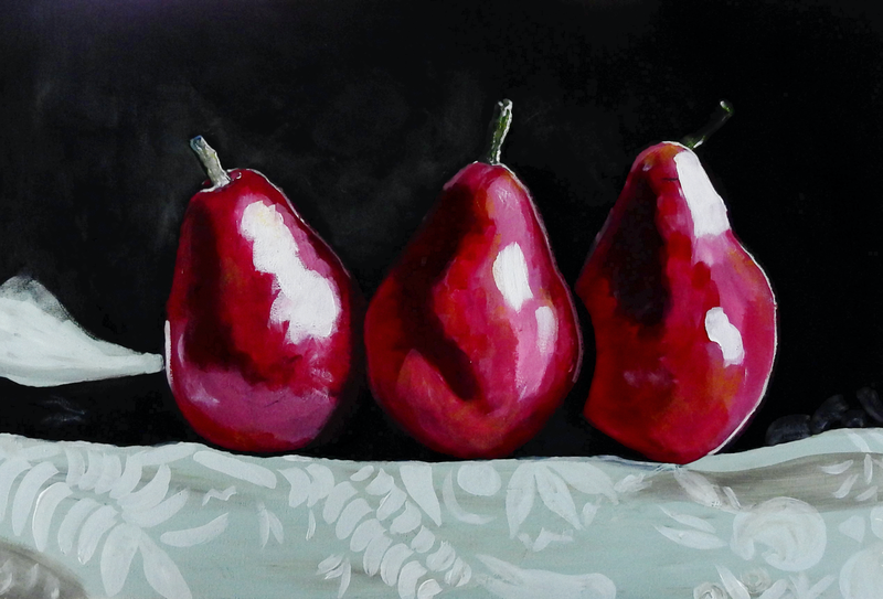 (CreativeWork) Three Red Pears by julie hollis. Acrylic Paint. Shop online at Bluethumb.