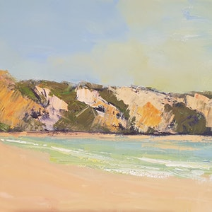 (CreativeWork) Rainbow Beach High Noon by Rod Moore. arcylic-painting. Shop online at Bluethumb.