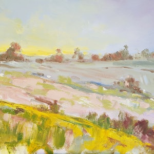 (CreativeWork) Maleny, Fleeting Last Light by Rod Moore. arcylic-painting. Shop online at Bluethumb.