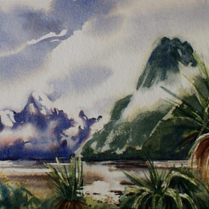 (CreativeWork) Milford Sound  by Ajay Lack. watercolour. Shop online at Bluethumb.
