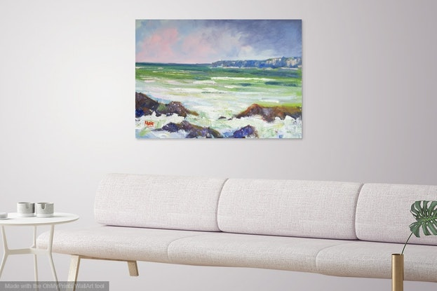 (CreativeWork) Storms Across Mooloolaba  by Rod Moore. Acrylic Paint. Shop online at Bluethumb.