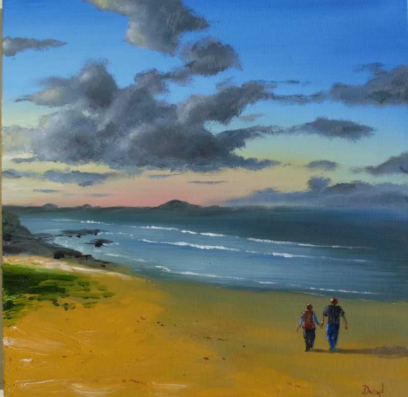 (CreativeWork) Toward Mt Coolum by darryl eustace. oil-painting. Shop online at Bluethumb.
