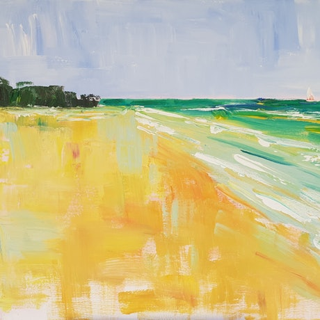 (CreativeWork) Dreaming of Inskip Point  by Rod Moore. Acrylic Paint. Shop online at Bluethumb.