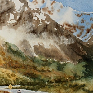 (CreativeWork) 'Road Tripping' South Island NZ by Ajay Lack. watercolour. Shop online at Bluethumb.