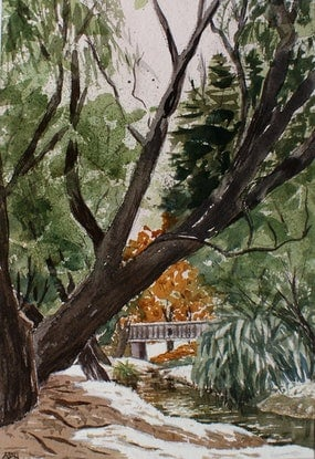 (CreativeWork) Queenstown New Zealand  by Ajay Lack. Watercolour Paint. Shop online at Bluethumb.