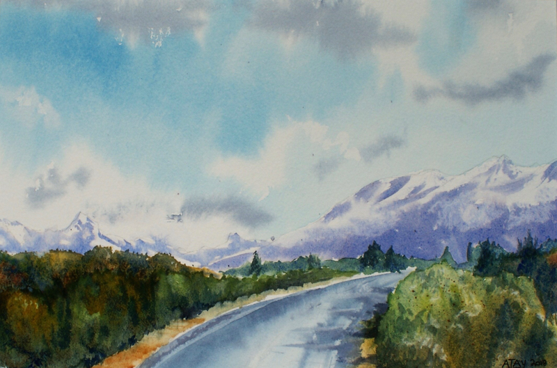 (CreativeWork) To The Hills  by Ajay Lack. Watercolour Paint. Shop online at Bluethumb.