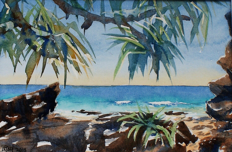(CreativeWork) Point Arkwright Sunshine Coast - My secret spot! by Ajay Lack. watercolour. Shop online at Bluethumb.