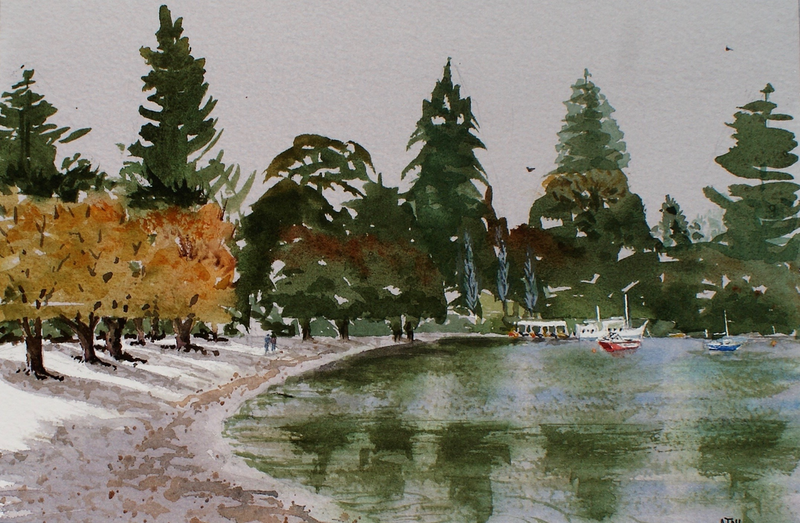 (CreativeWork) First Snow Queenstown  by Ajay Lack. Watercolour Paint. Shop online at Bluethumb.