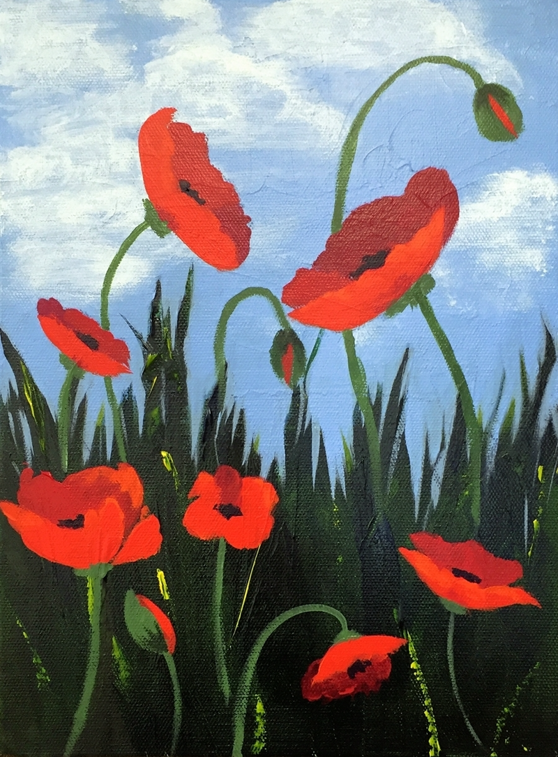 (CreativeWork) Flanders Poppies by Raynette Mitchell. Acrylic Paint. Shop online at Bluethumb.