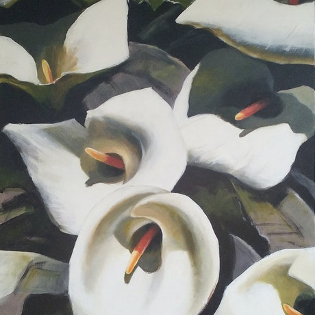 (CreativeWork) Arum Lillies by Chris Hundt. Acrylic Paint. Shop online at Bluethumb.