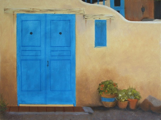 (CreativeWork) The Blue Door by Raynette Mitchell. Acrylic Paint. Shop online at Bluethumb.