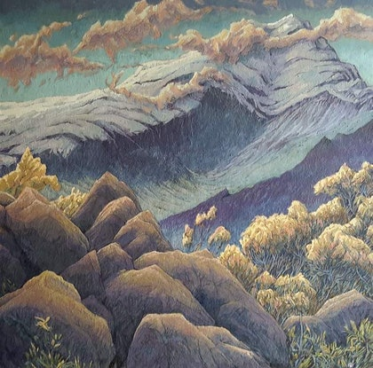 (CreativeWork) Gertrude Valley by Mac Monks. Acrylic Paint. Shop online at Bluethumb.