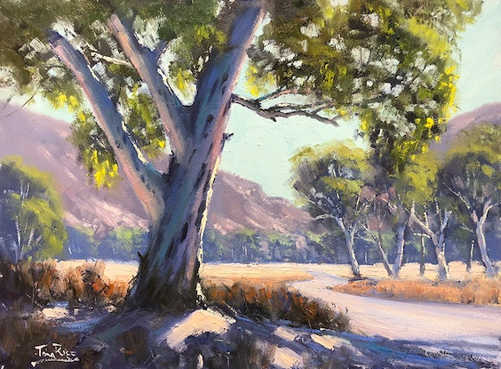 (CreativeWork) On The Road To Ellery Creek by John Rice. Oil Paint. Shop online at Bluethumb.