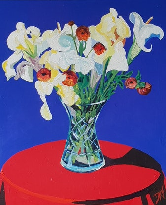 (CreativeWork) Stilllife with flowers by David Foster. Acrylic Paint. Shop online at Bluethumb.