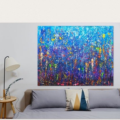 (CreativeWork) The sound of Heaven touching New Zealand (abstract prophetic art) by Nina Bach. Mixed Media. Shop online at Bluethumb.