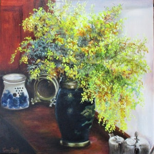 (CreativeWork) Yellow Wattle  by Carry Smith. arcylic-painting. Shop online at Bluethumb.