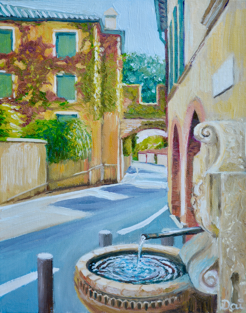 (CreativeWork) Asolo Fountain by Dai Wynn. Oil Paint. Shop online at Bluethumb.