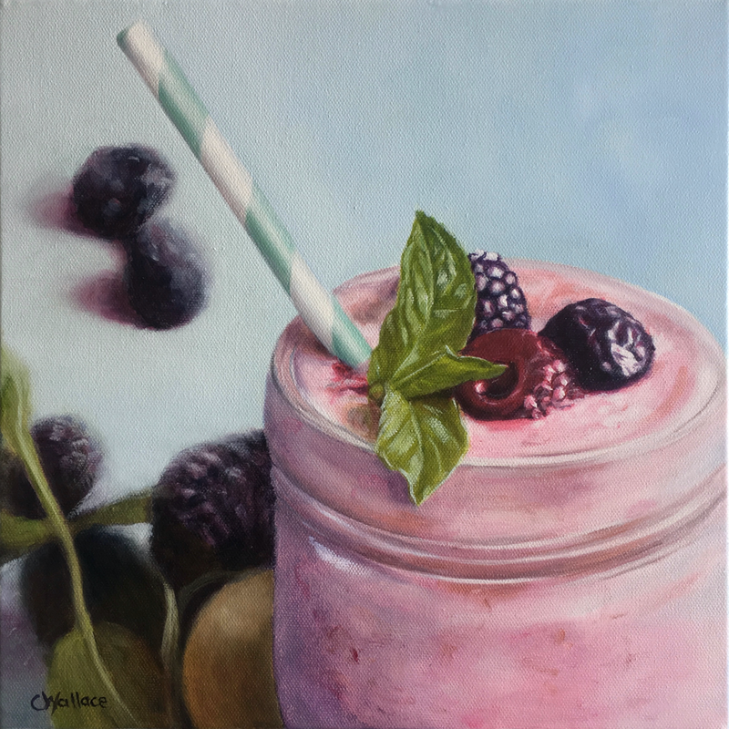 (CreativeWork) Berry Smoothie by Catherine Wallace. oil-painting. Shop online at Bluethumb.